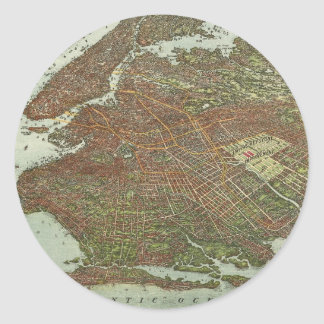 Vintage Map of Brooklyn NY (1908) Classic Round Sticker