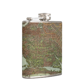 Vintage Map of Brooklyn NY (1908) Hip Flask