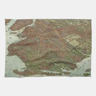 Vintage Map of Brooklyn NY (1908) Kitchen Towels