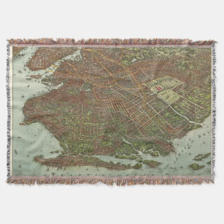 Vintage Map of Brooklyn NY (1908) Throw