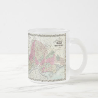 Vintage Map of Brookyln (1868) Frosted Glass Coffee Mug