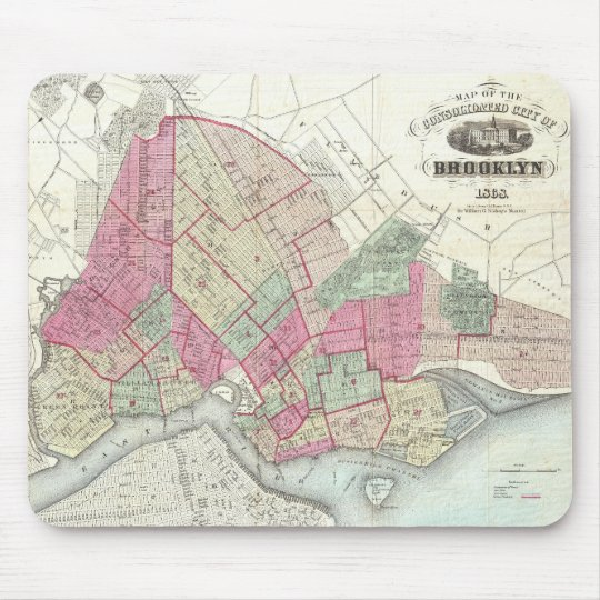 Vintage Map of Brookyln (1868) Mouse Pad