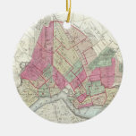 Vintage Map of Brookyln (1868) Double-Sided Ceramic Round Christmas Ornament