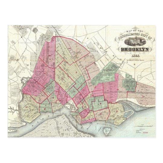 Vintage Map of Brookyln (1868) Postcard
