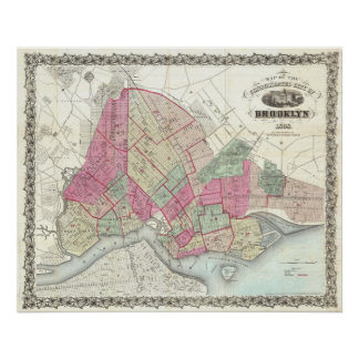Vintage Map of Brookyln (1868) Poster