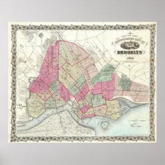 Vintage Map of Brookyln (1868) Print