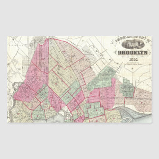 Vintage Map of Brookyln (1868) Rectangular Sticker