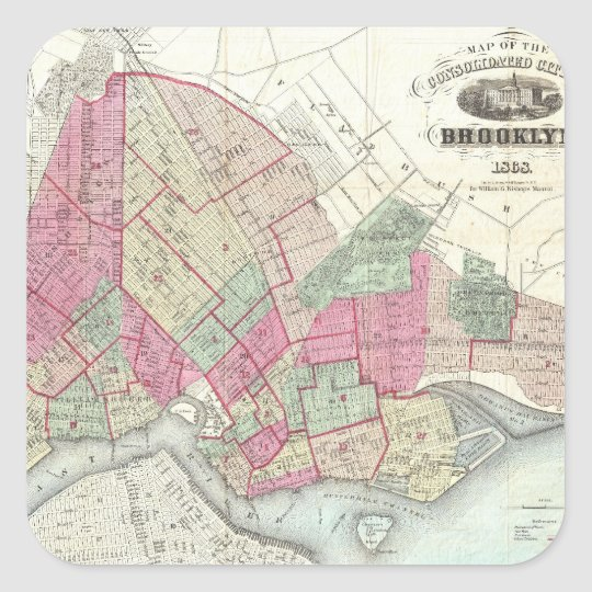 Vintage Map of Brookyln (1868) Square Sticker