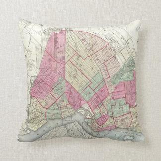 Vintage Map of Brookyln (1868) Throw Pillow