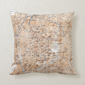 Vintage Map of Brussels (1905) Throw Pillow