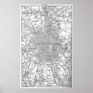 Vintage Map of Brussels Belgium (1905) Poster