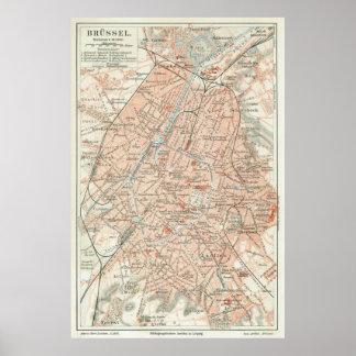 Vintage Map of Brussels Belgium (1907) Poster