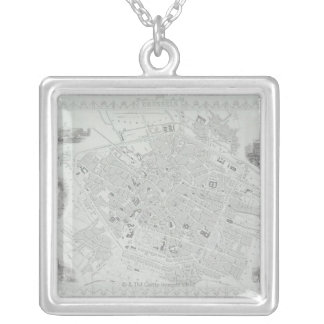 Vintage Map of Brussels Silver Plated Necklace