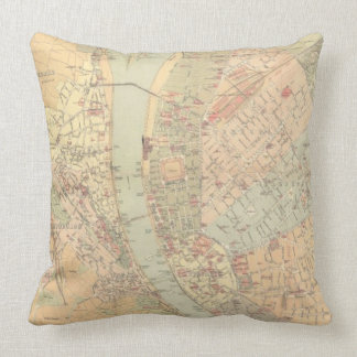 Vintage Map of Budapest Hungary (1884) Pillow