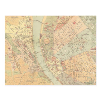 Vintage Map of Budapest Hungary (1884) Postcard