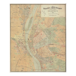 Vintage Map of Budapest Hungary (1884) Poster
