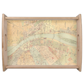Vintage Map of Budapest Hungary (1884) Serving Tray