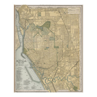 Vintage Map of Buffalo New York (1891) Poster