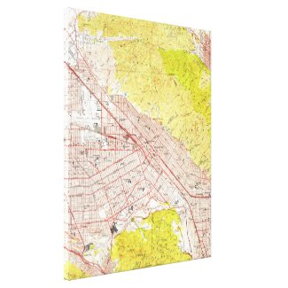 Vintage Map of Burbank California (1953) Canvas Print