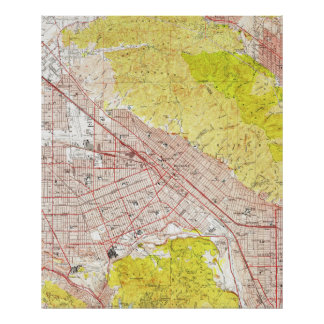 Vintage Map of Burbank California (1953) Poster