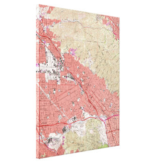 Vintage Map of Burbank California (1966) Canvas Print