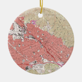 Vintage Map of Burbank California (1966) Ceramic Ornament