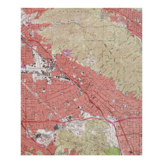 Vintage Map of Burbank California (1966) Poster