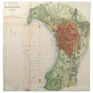 Vintage Map of Burlington Vermont (1763) Napkin