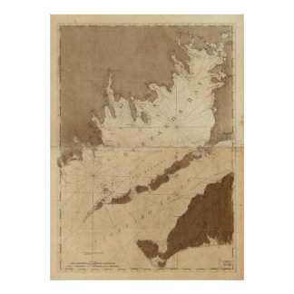 Vintage Map of Buzzards Bay (1776) Poster
