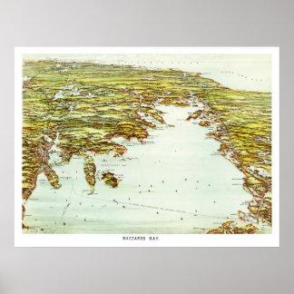 Vintage map of Buzzards Bay, Massachusetts Poster