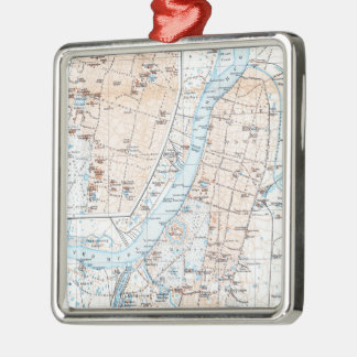 Vintage Map of Calcutta India (1914) Metal Ornament