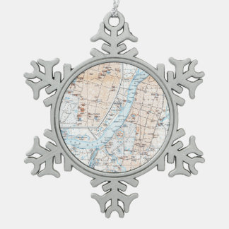 Vintage Map of Calcutta India (1914) Snowflake Pewter Christmas Ornament