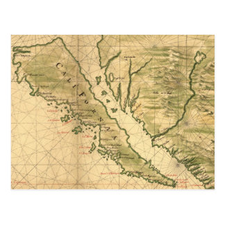 Vintage Map of California (1650) Postcard