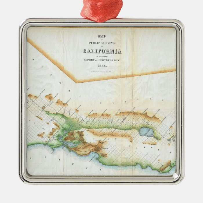 Vintage Map of California (1854) Metal Ornament