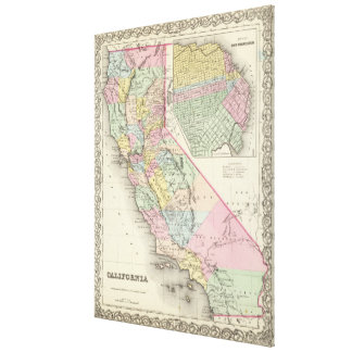 Vintage Map of California (1856) Canvas Print