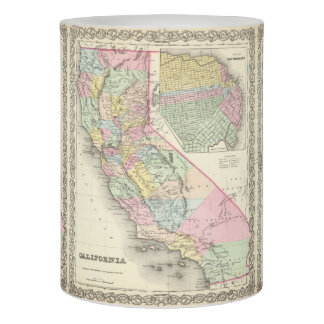 Vintage Map of California (1856) Flameless Candle