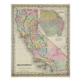 Vintage Map of California (1856) Poster