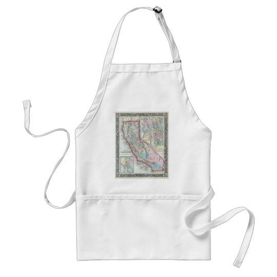 Vintage Map of California (1860) Adult Apron