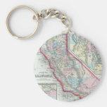 Vintage Map of California (1860) Basic Round Button Keychain
