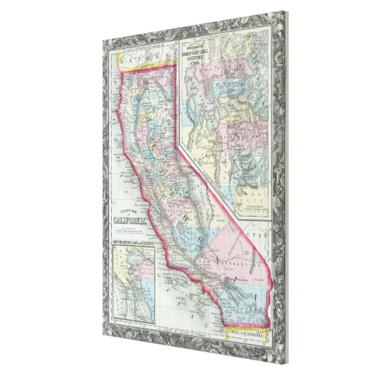 Vintage Map of California (1860) Canvas Print