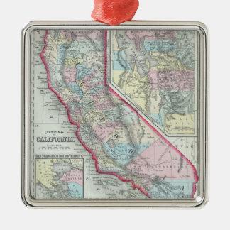 Vintage Map of California (1860) Metal Ornament