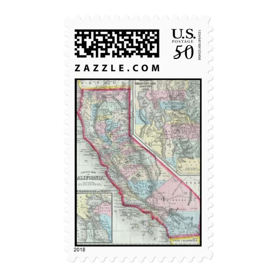 Vintage Map of California (1860) Postage