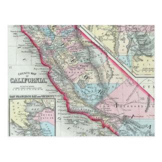 Vintage Map of California (1860) Postcard
