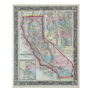 Vintage Map of California (1860) Poster