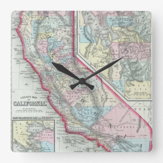 Vintage Map of California (1860) Square Wall Clock