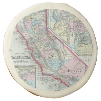 Vintage Map of California (1860) Sugar Cookie