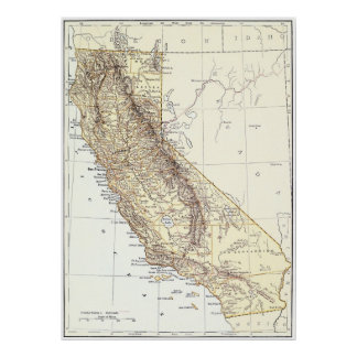 Vintage Map of California (1878) Poster