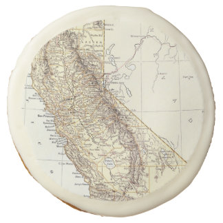 Vintage Map of California (1878) Sugar Cookie