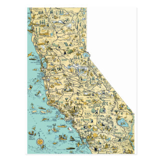 Vintage Map of California Postcard