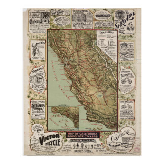 Vintage Map of California Roads Posters